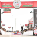 Adam Yates wins Stage 3, the Emirates Stage, of the UAE Tour and is the new Red Jersey