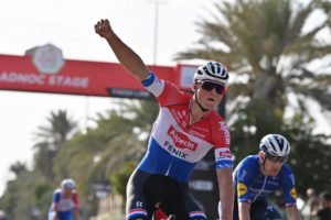 Van der Poel wins Stage 1, the ADNOC Stage, of the UAE Tour and wears the first Red Jersey
